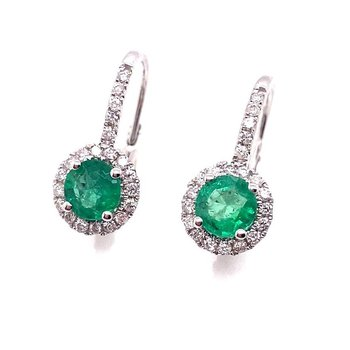 White Gold Emerald Drop Earrings with Diamond Halo