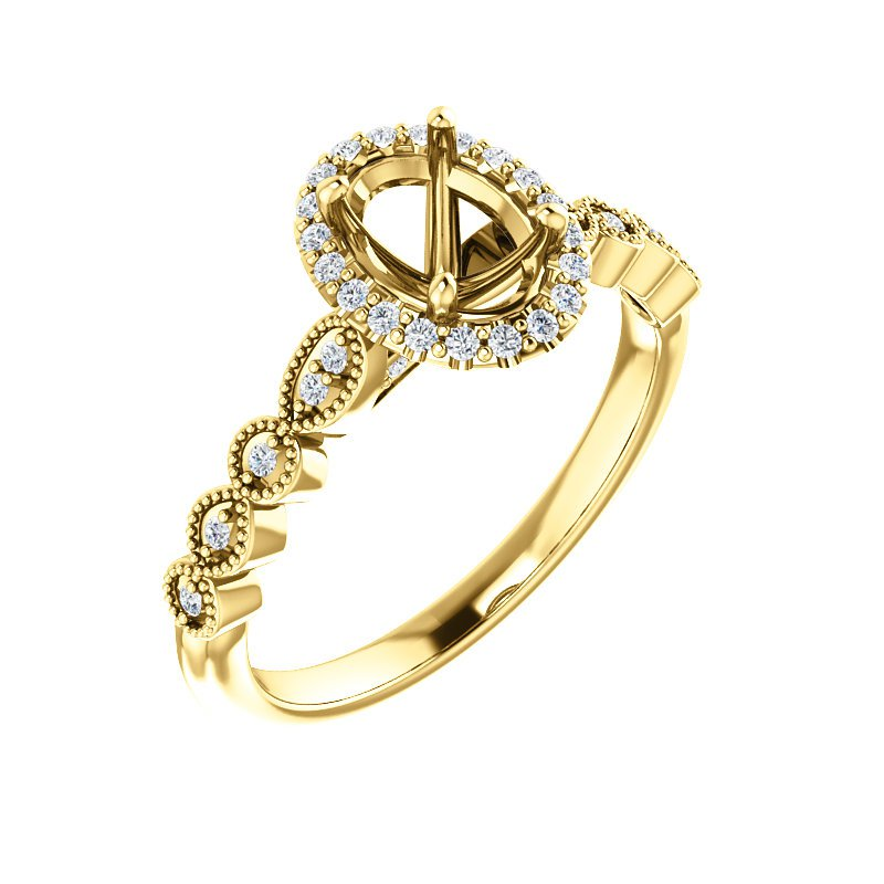 Yellow Gold Millgrain Detail Oval Halo Ring With Diamonds