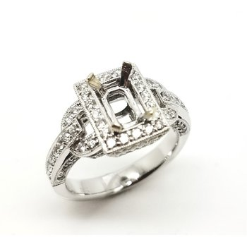 18k Art Deco Design Diamond Ring