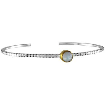 White And Yellow Sterling Silver Vermeil Bangle Bracelet Gem: MOTHER OF PEARL