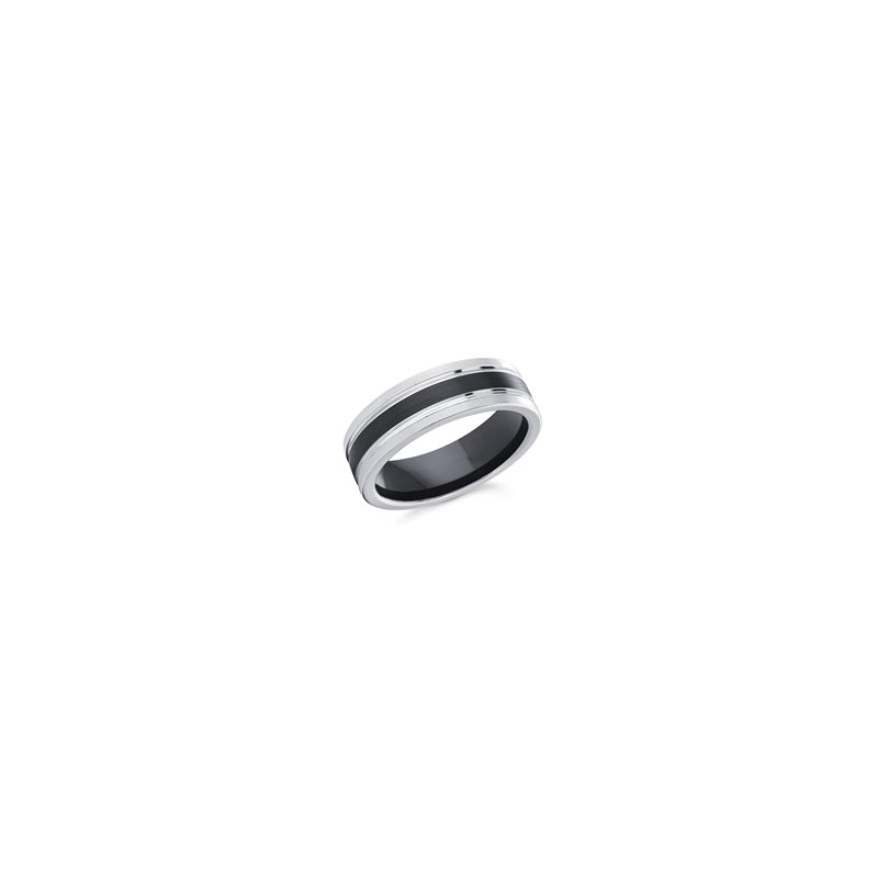Gents Cobalt Ring, 7mm White and Black Cobalt