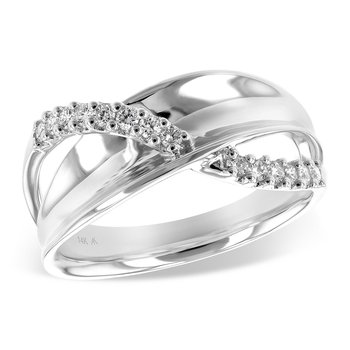 White Gold Band with Diamond Crossover