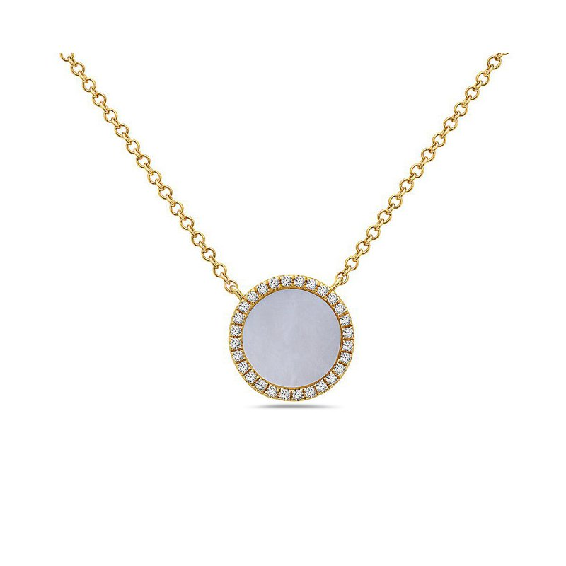 Yellow Gold Pendant With Mother of Pearl and Diamonds