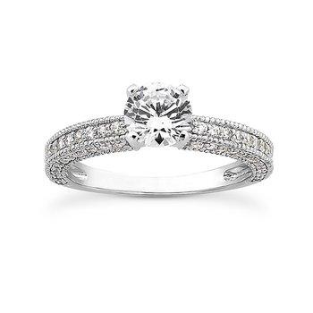 Millgrain Detail Diamond Set Engagement Ring Mounting