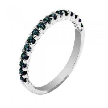 14 Karat White Gold Band with Alexandrites