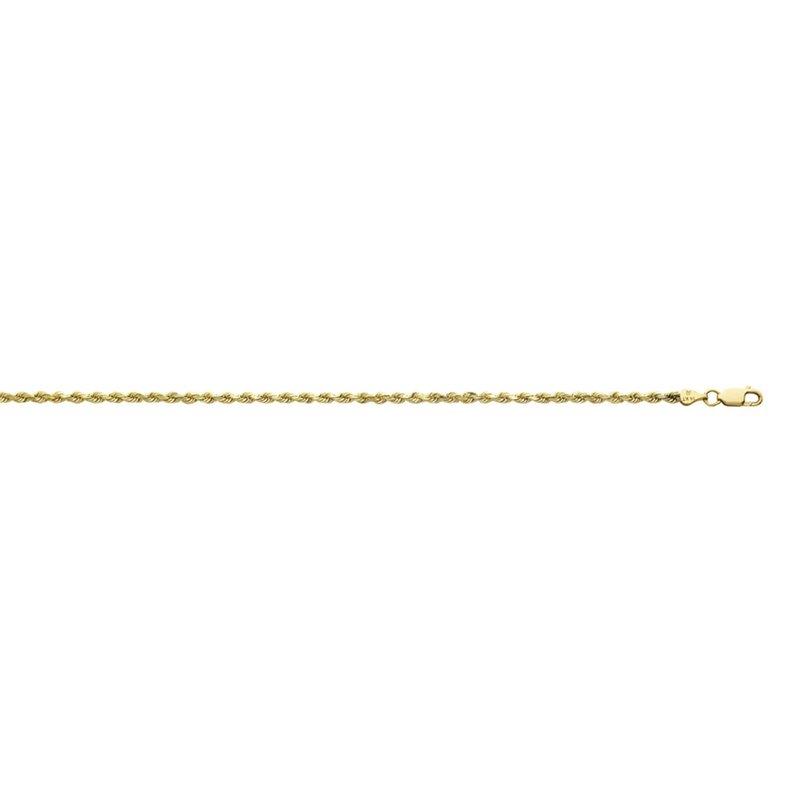 "Yellow Diamond Cut 10 Karat Rope Necklace Length 22"""