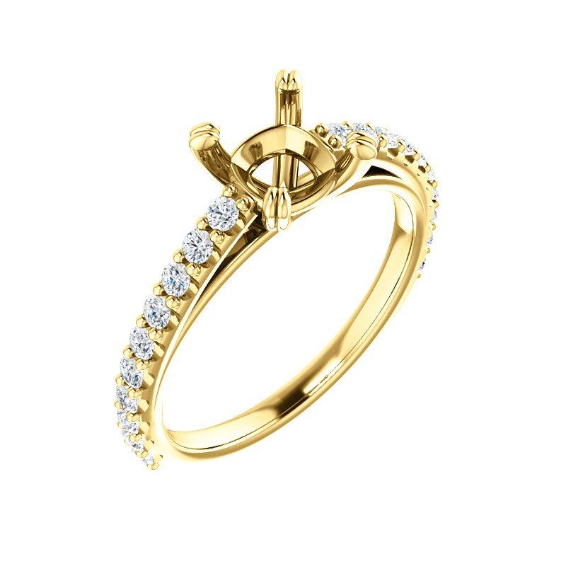 Yellow 14 Karat Ring Round Diamonds