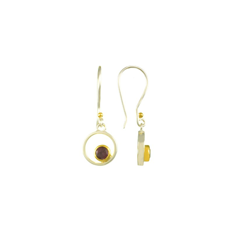 Garnet Bezel Set Drop Earrings