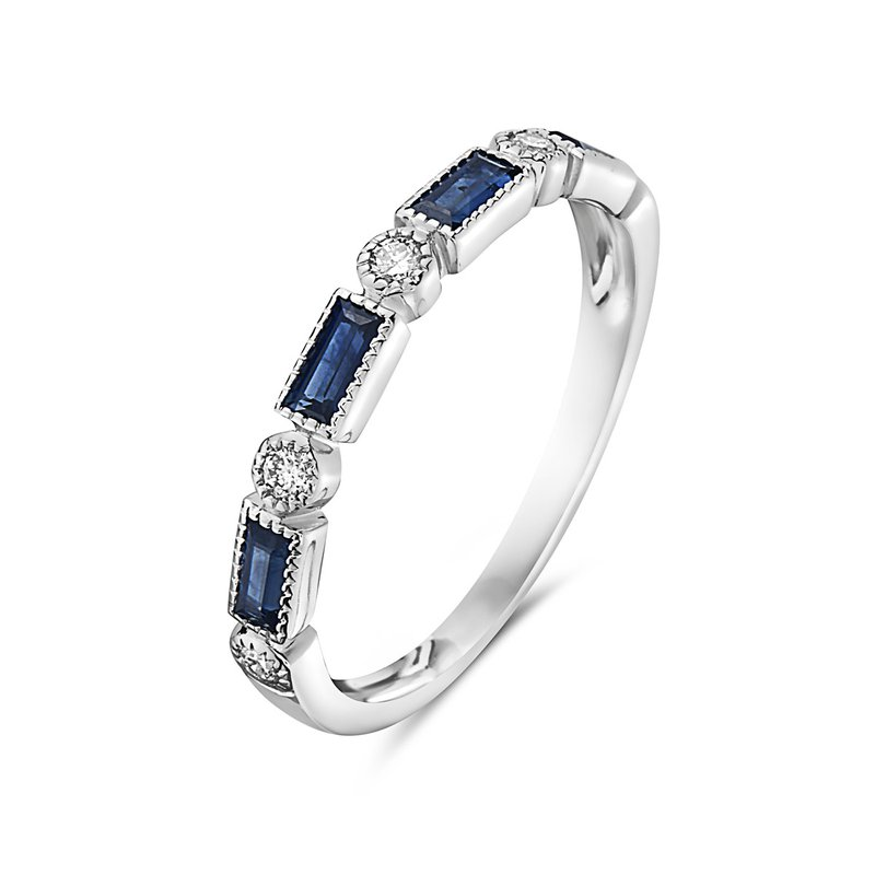 Sapphire Baguette and Diamond Band in 14 kt White Gold