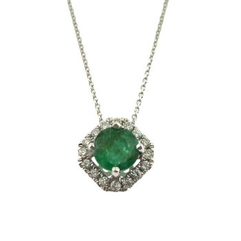 14 Karat Excellent Emerald Pendant With Diamonds
