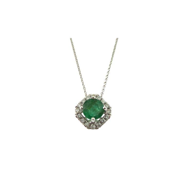 14 Karat Excellent Emerald Pendant With Diamonds