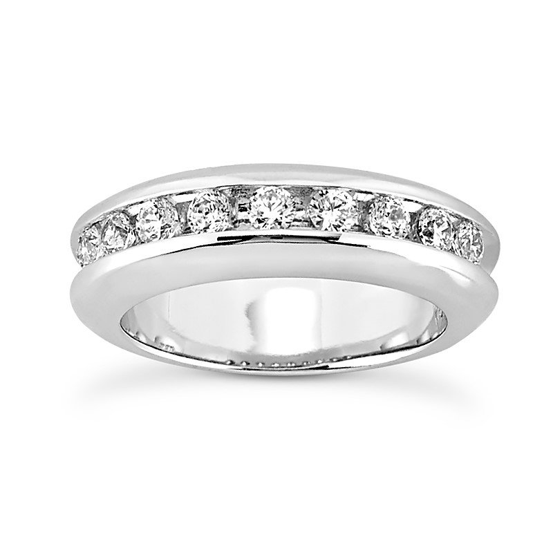 14 Karat White Gold Diamond Channel Set Band