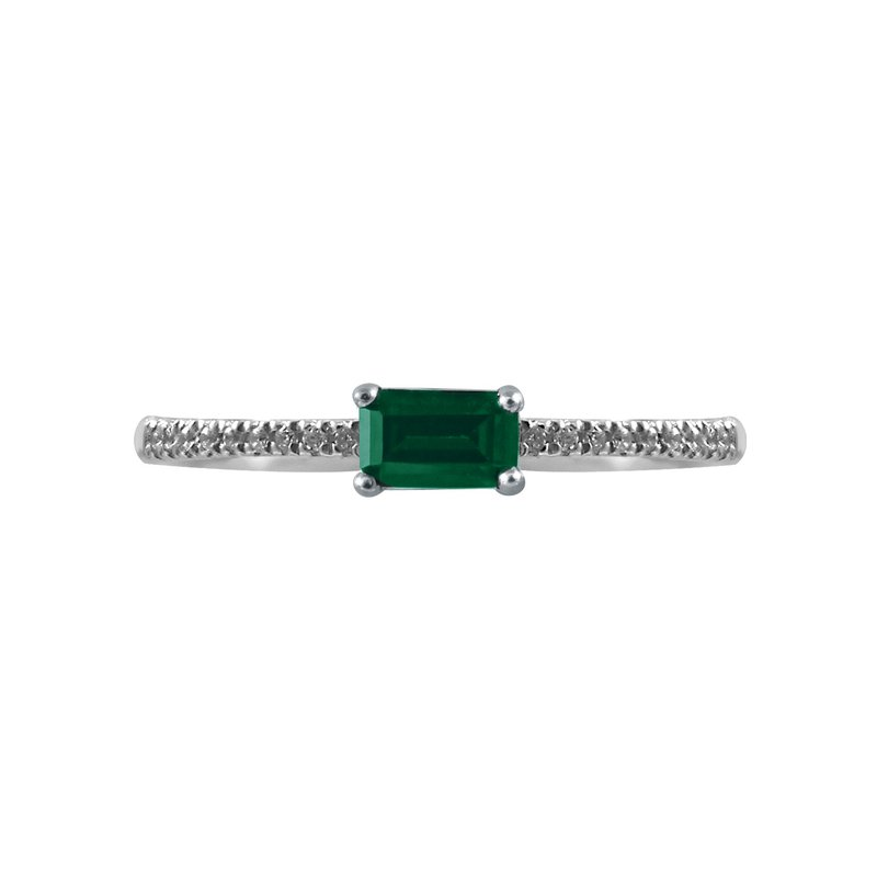 Petite Emerald and Diamond Ring - Perfect for stacking!