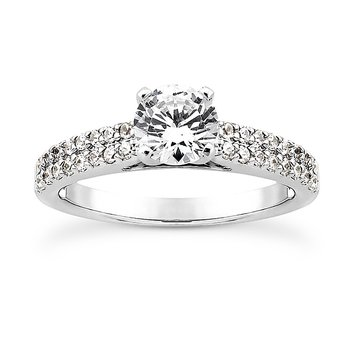 White 14 Karat Ring With 32 Round Diamonds=0.32Tw G/H Si