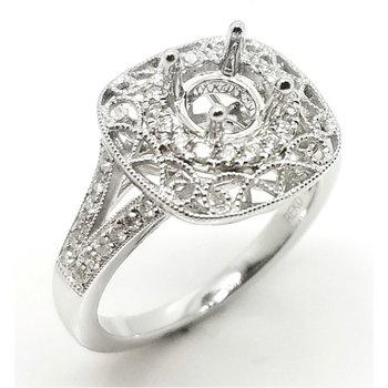 Elaborate Filigree and Beaded Diamond Ring