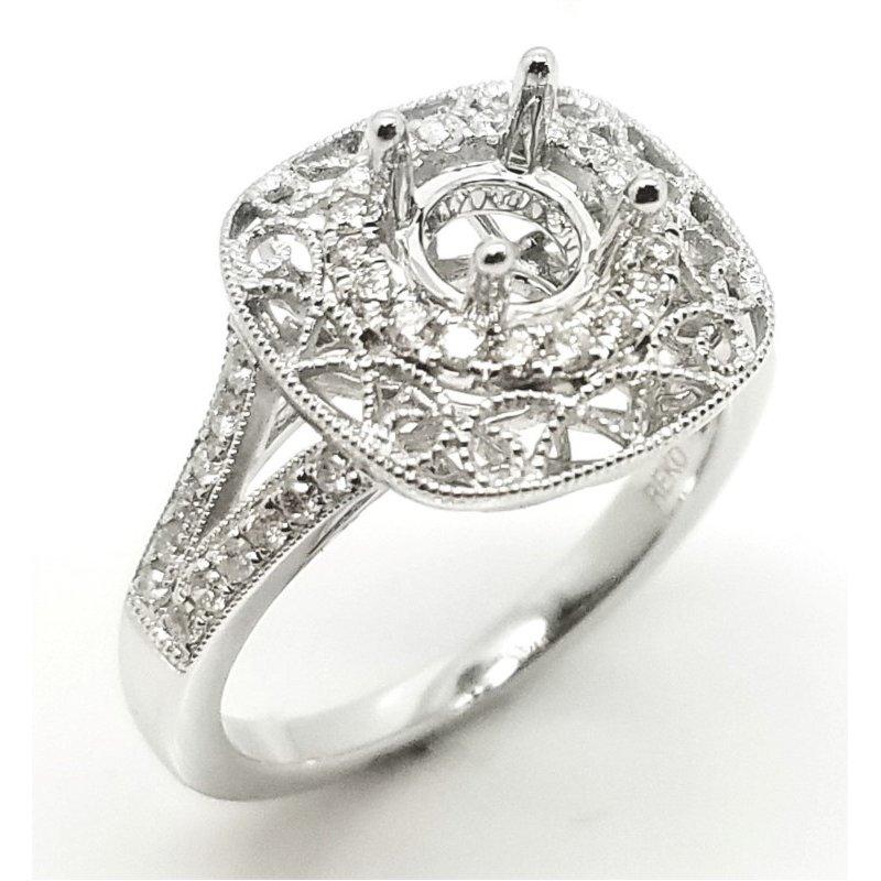 Elaborate Filigree and Beaded Diamond Ring