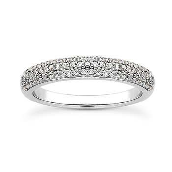 14 Karat White Gold 3 Row Diamond Band