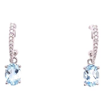 Stylish Aquamarine and Diamond earrings