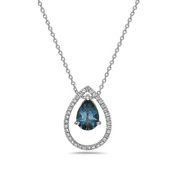 Pear Shaped Diamond and London Blue Topaz Pendant