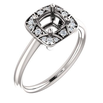 White 14 Karat Square Cushion Accented Setting Ring Mounting