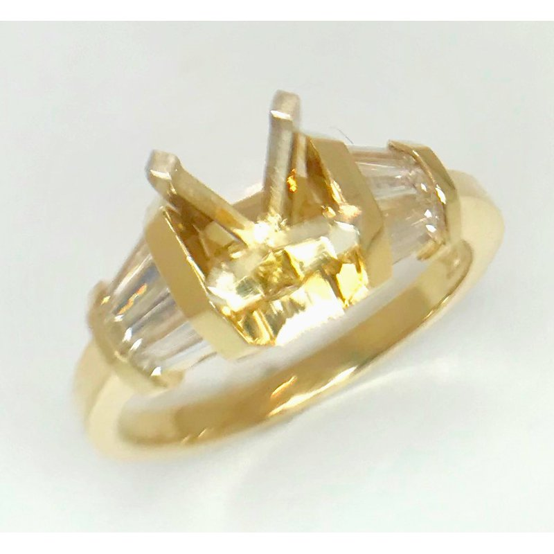 14kt Yellow Gold Ring with Fan of Baguette Diamonds