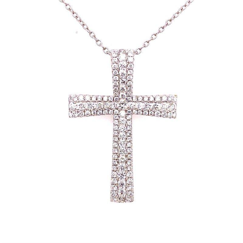 14 Karat White Gold Diamond Cross