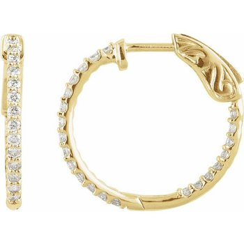 14 Karat Yellow Gold Hinged Diamond Hoops Earrings