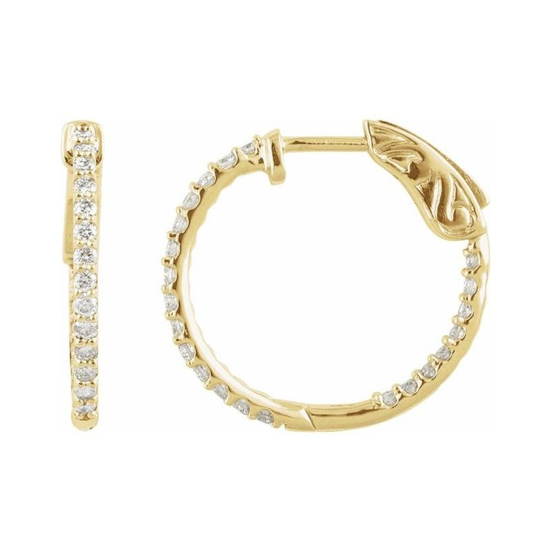 14 Karat Yellow Gold Hinged Diamond Hoops Earrings