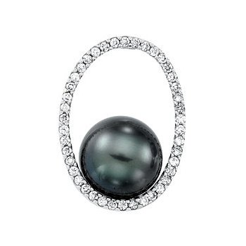 14 Karat White Gold Tahitian Pearl and Diamond Pendant