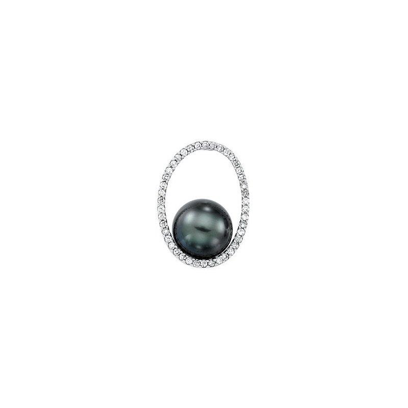 14 Karat White Gold Tahitian Pearl and Diamond Pendant