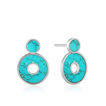 Sterling Silver And Turquoise Disc Stud And Earring Jackets