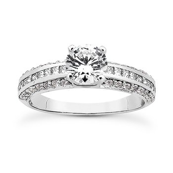 Engagement ring Mounting with diamond shoulders and sides