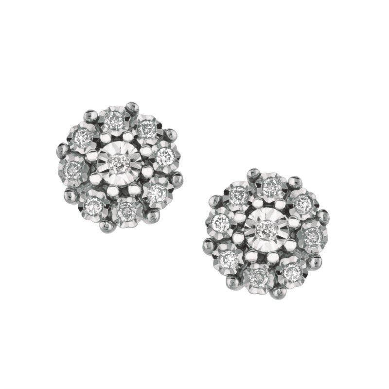 Sterling Silver Diamond Cluster Stud Earrings