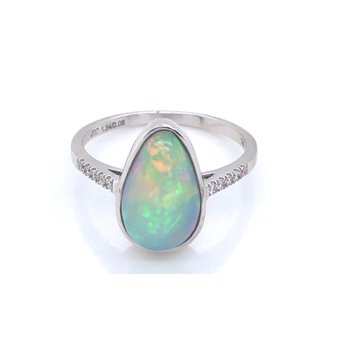 Stunning Pear shaped Opal with Diamonds set in 14kt White Gold