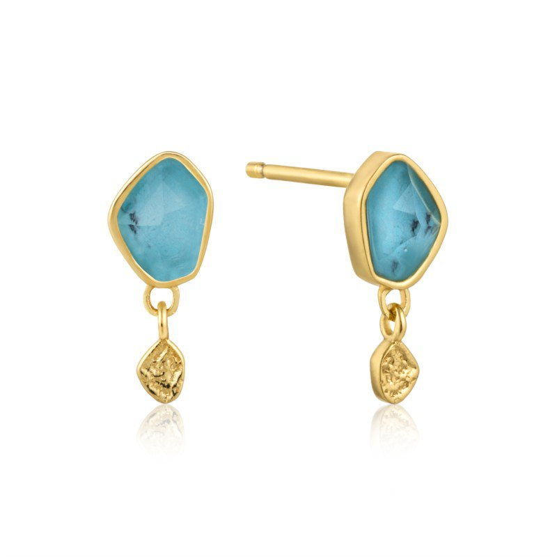 Yellow Sterling Silver Polished Mineral Glow Turquoise Drop Earrings
