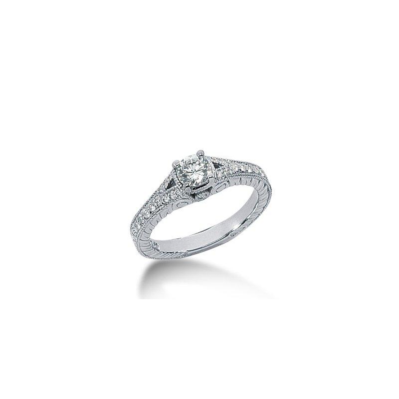 White 14 Karat Ring With 24 Round Diamonds=.0.28Tw G/H Si
