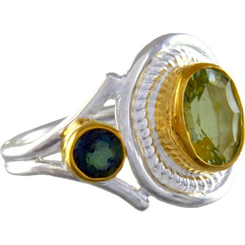 Sterling Silver Ring Set With Green Amethyst and Green Topaz