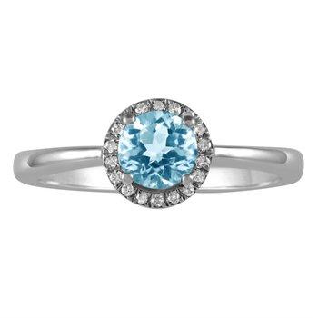 Petite Blue Topaz and Diamond Halo Ring
