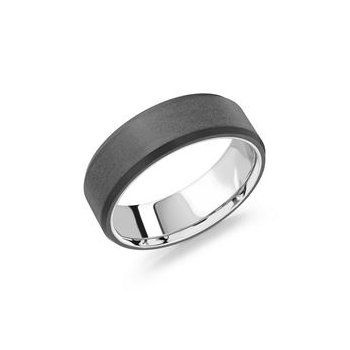 14 Karat White Gold With Carbon Wedding Band