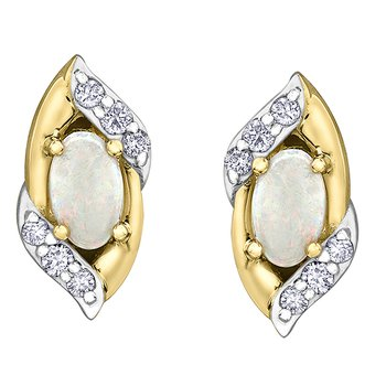 Yellow Gold Opal and Diamond studs