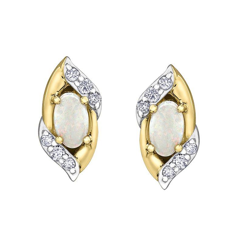 Empress Line Yellow Gold Opal and Diamond studs