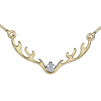 10k gold Antler pendant with diamond