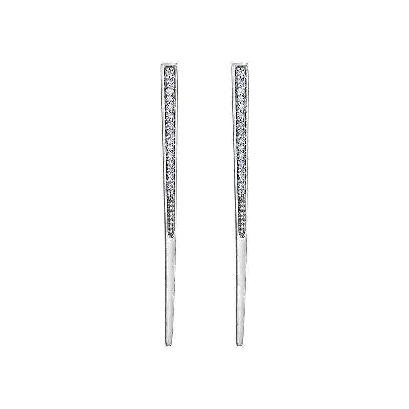 Empress Line Tapered Bar Diamond Earrings