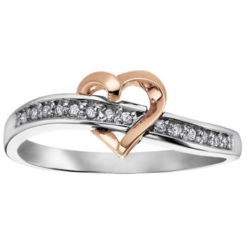 Two Tone Diamond Heart Ring