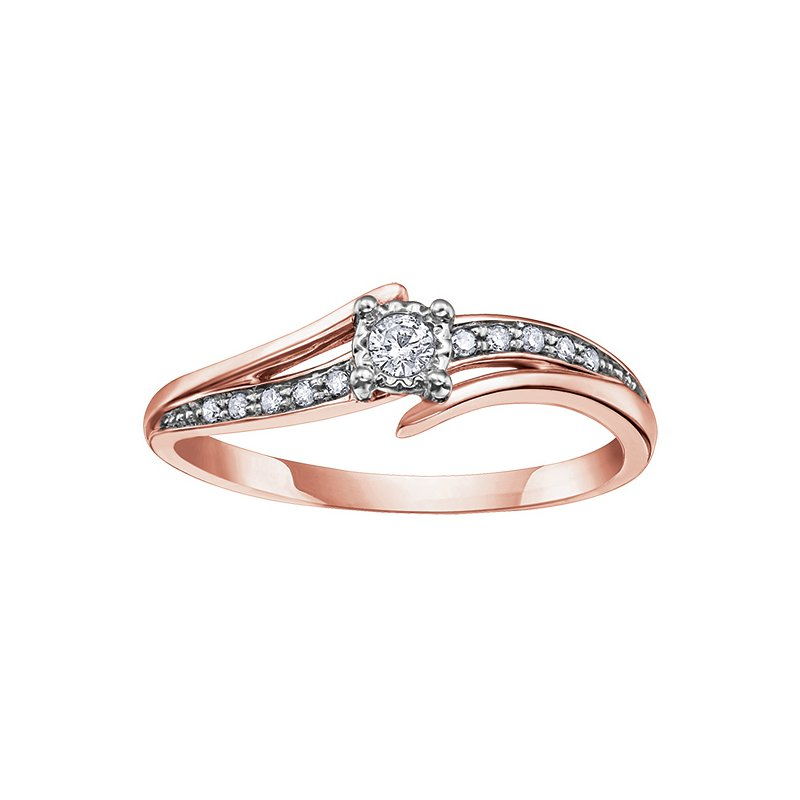 Empress Line 10K Rose Gold Diamond Ring