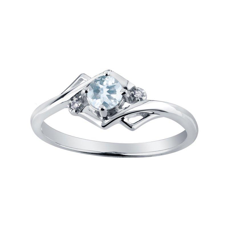 Empress Line Aquamarine & Diamond Ring
