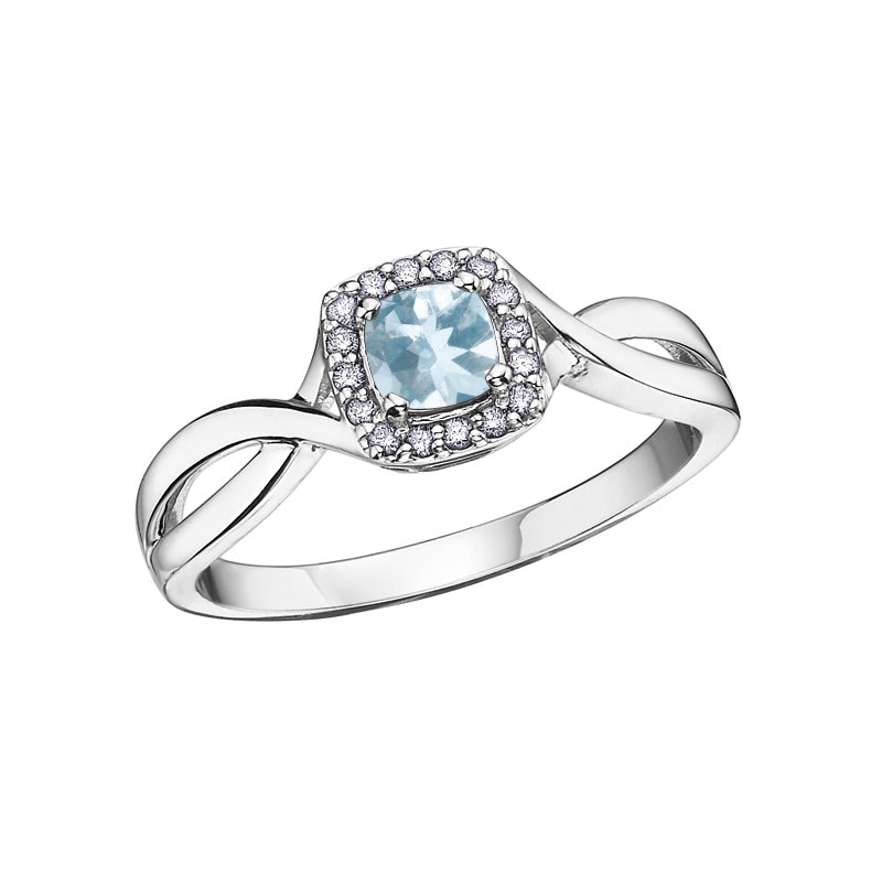 Empress Line Aquamarine and Diamond ring