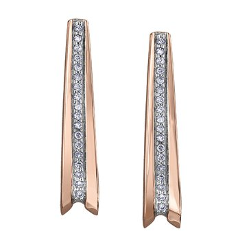 10k rose and white gold diamond earrings