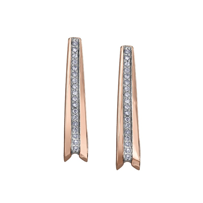 Empress Line 10k rose and white gold diamond earrings