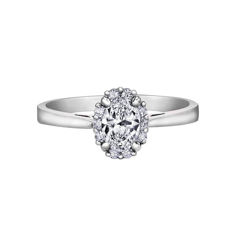 Empress Line Oval Halo Engagement Ring
